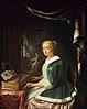17th century woman playing a virginal