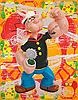Popeye with crabs on wallpaper background